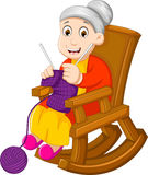 Funny grandmother cartoon knitting in a rocking chair