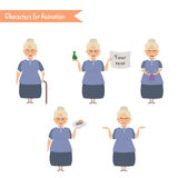 Funny Grandmother housewife cartoon. Stock Images