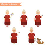 Funny Grandmother housewife cartoon. Stock Image