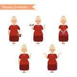 Funny Grandmother housewife cartoon. Stock Photography