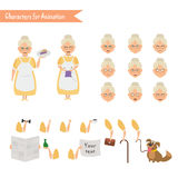 Funny Grandmother housewife cartoon. Royalty Free Stock Image