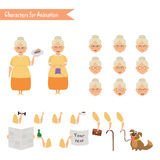 Funny Grandmother housewife cartoon. Stock Photo