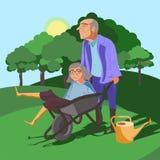 Funny grandparents vector illustration