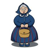 Funny Granny with bag. Cartoon Funny Granny holding bag in both hands Stock Photos