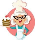 Grandmother Holding Cake Vector Cartoon vector illustration