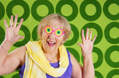 Funny granny. Humorous cool grandmother with crazy glasses Royalty Free Stock Image