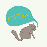 Funny gray cat with meow text in bubble Stock Image