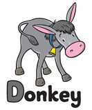 Funny gray donkey. Alphabet D Stock Photo