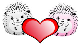 Funny gray hedgehog with red hearts. On a white background Royalty Free Stock Photos