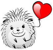 Funny gray hedgehog with red hearts. On a white background Stock Photos