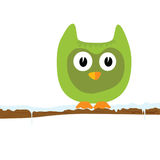 Funny green animal on a branch vector Royalty Free Stock Image