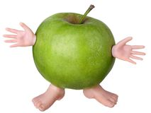 Funny green apple Royalty Free Stock Photography