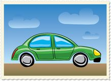 Funny green car Stock Images