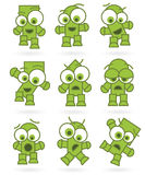 Funny green cartoons robot monster character set Royalty Free Stock Photos
