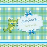 Funny green crocodile. Baby shower. Invitations to templates, greetings with cute toys, a place for your text. Gift box design with letters and illustrations Royalty Free Stock Images