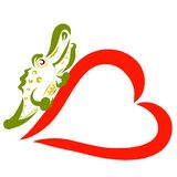 Funny green crocodile sitting on a big red heart.  royalty free illustration