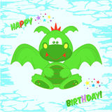 Funny green Dragon. Greeting card with birthday. T-shirt design for kids. The design of baby clothes vector illustration. Royalty Free Stock Photo