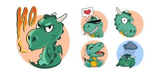 Funny green dragon set in cartoon style stock images