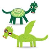 Funny green dragon on a white background. vector Royalty Free Stock Photo