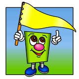 Funny Green Figure with a Yellow Flag. Stock Photography