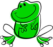 Funny green frog sitting and smiling. (rasterized version Stock Photography