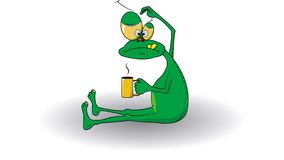 Funny green man looks like a frog drinking royalty free illustration