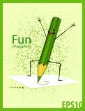 Funny, green pencil Stock Images