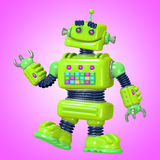 Funny green robot 3D illustration Royalty Free Stock Photos