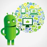 Funny green robot with social media concept Royalty Free Stock Photo