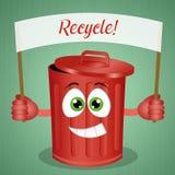 Funny green stinky garbage bin Stock Photos