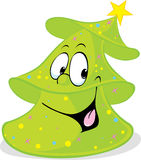 Funny green xmas fir tree smiling - isolated vector Royalty Free Stock Images