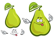 Funny green yellow pear fruit character Royalty Free Stock Photography