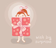 Funny Greeting Card. Vector illustration -- little girl with a great gift vector illustration