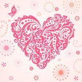 Funny greeting card with abstract pink heart Royalty Free Stock Images
