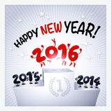 2016 funny greeting card. 2016 funny characters jumping to celebrate New Year royalty free illustration