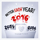 2016 funny greeting card. 2016 funny characters jumping to celebrate New Year stock illustration