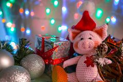 Funny greeting card with new year 2019. Pink pig with xmas balls, gift and cone on background with illumination royalty free stock image