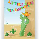 Funny greeting card template with cactus in sombrero with tequila. Stock Images