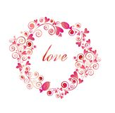 Funny greeting pink frame with hearts and little birds Stock Photo
