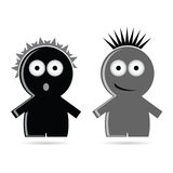 Funny grey and black people icon vector. Illustration Stock Image