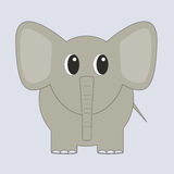 Funny grey cartoon elephant. With tail staying Royalty Free Stock Images