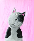 Funny grey cat. On the pink background Stock Photo