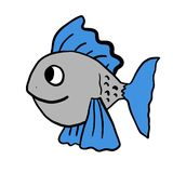 Funny Grey Fish. Digital illustration of a fish Stock Photos