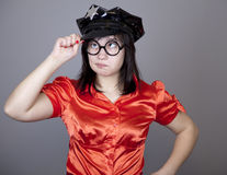 Funny gril in cap. Royalty Free Stock Photography