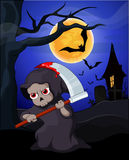 Funny Grim Reaper cartoon. Grim Reaper and bat with a full moon background Stock Photography