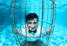 Funny groom underwater in a bird cage Stock Images