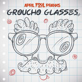 Funny Groucho Glasses for April Fools' Day in Doodle Style, Vector Illustration Royalty Free Stock Photography