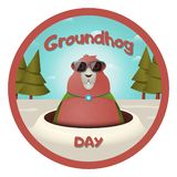 Funny character groundhog in sunglasses and a raincoat. Happy Groundhog Day. Vector illustration. stock illustration
