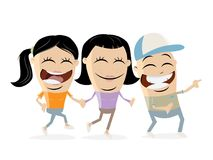 Group of happy teens clipart. Funny group of happy teens clip-art royalty free illustration