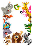 Funny group of Jungle animals. Cartoon vector illustration iwith frame in A4 size, for birthdays and events Stock Image